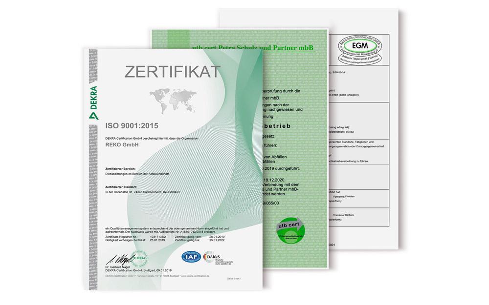 Zertifikate der REKO Gruppe