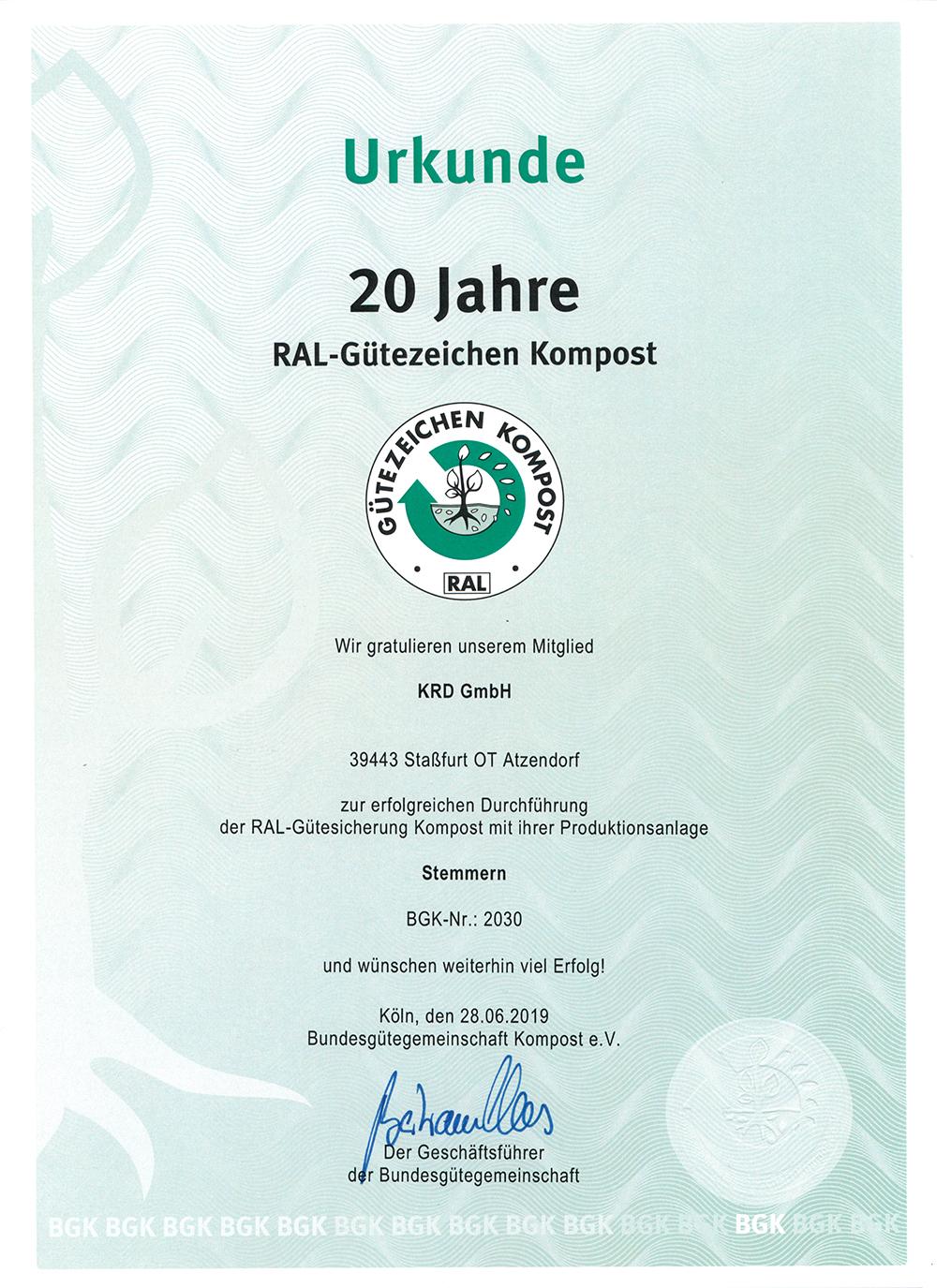 Urkunde 20 Jahre RAL-Gütezeichen Kompost der KRD GmbH